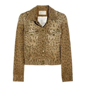Current/Elliott The Snap Jacket Cropped Leopard
